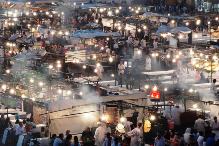 Aerial view of Djemaa el Fna by night on a luxury Marrakesh trip