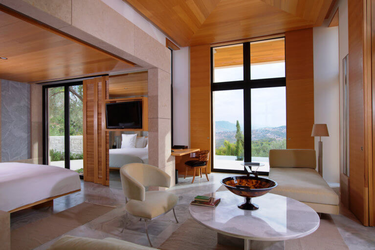 Luxury suite at Amanzoe during private Greece tour
