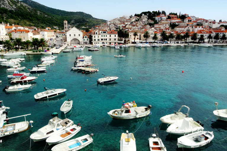 View of bay and boats in Hvar during luxury Croatia trip