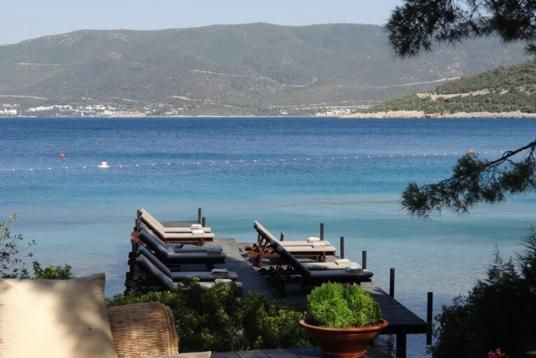 Amanruya beach club as seen on a luxury Turkey trip
