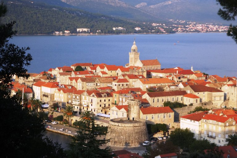 View of Korcula and sea during luxury Croatia tour