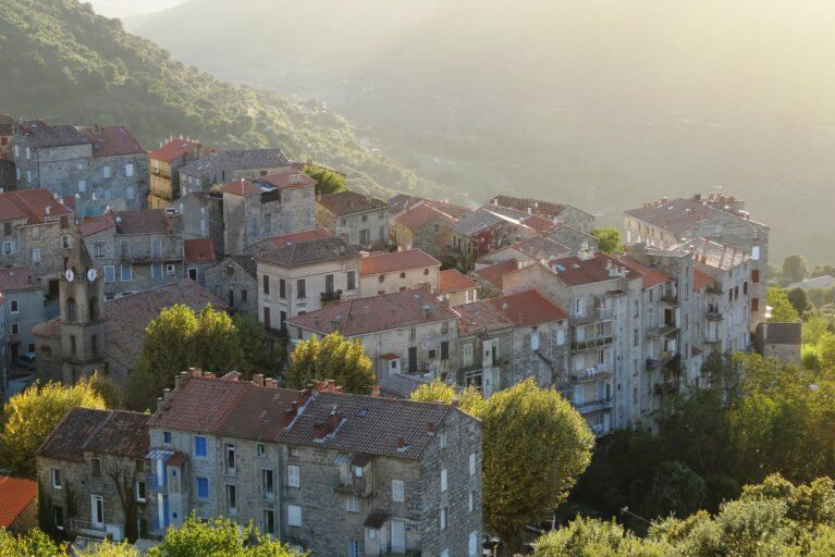 Village in Alta Rocca Mountains as seen on private Corsica tour