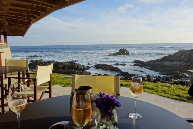 Drinks on the Boa Nova restaurant terrace in Porto on a private Portugal tour