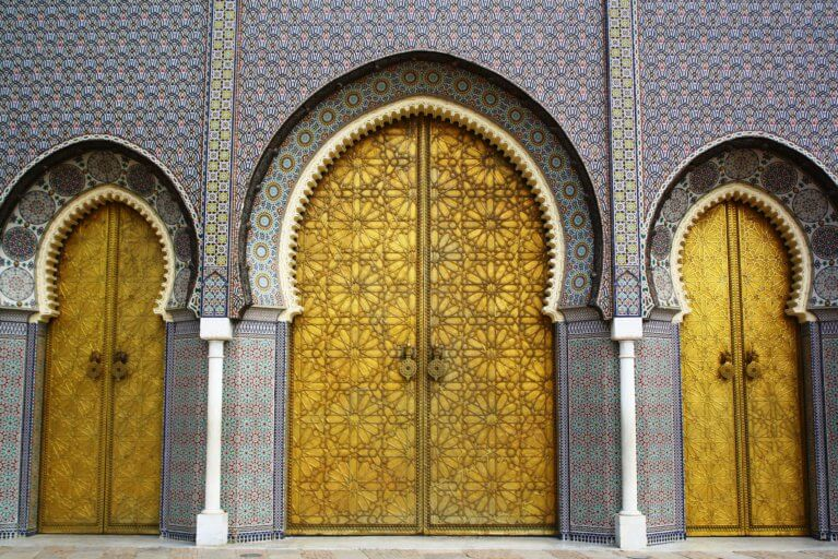 Royal Palace doors in Fes during luxury Morocco tour