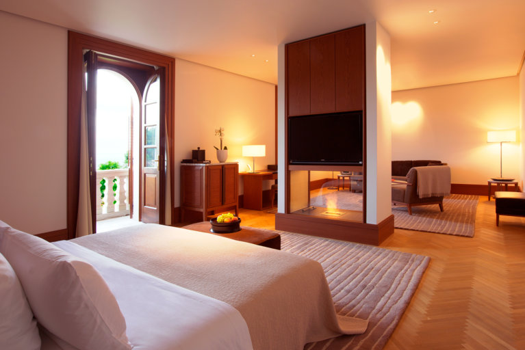 Luxury room at the Aman Sveti Stefan in Montenegro during luxury Adriatic trip