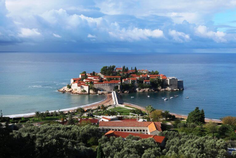 View of Aman Sveti Stefan and the sea during private Adriatic tour