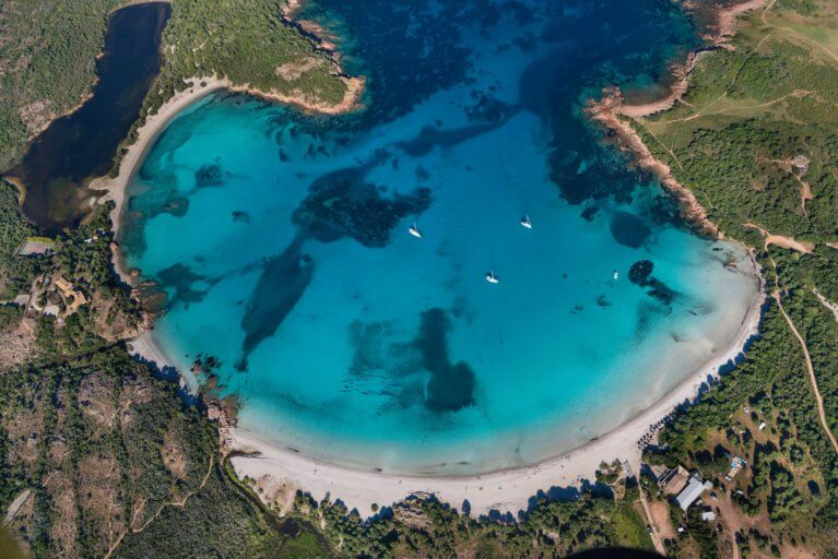 Aerial view of Rondinara Beach during luxury Corsica trip