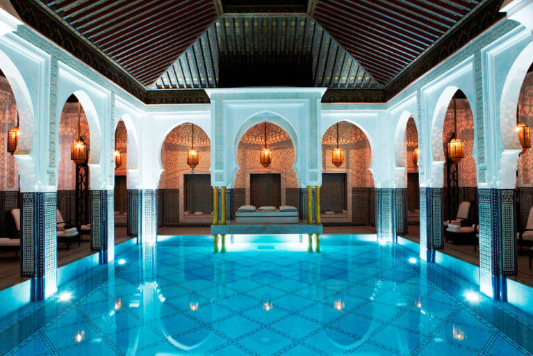 Indoor pool at La Mamounia in Marrakesh as seen on luxury tour of Morocco