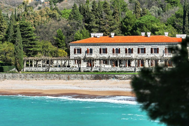 View of Villa Milocer at the Aman Sveti Stefan from the sea during private Croatia tour
