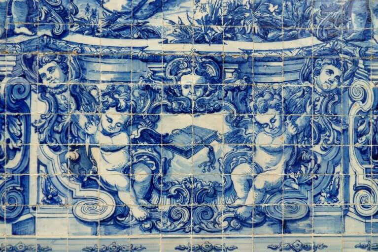 Close up of azulejos or Portuguese tiles during a luxury Portugal trip