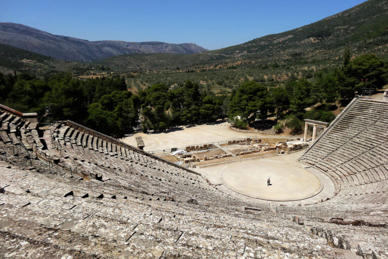 Ancient Greek Epidaurus theatre during luxury Greece trip