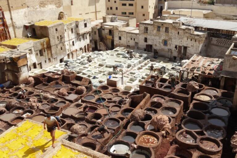Aerial view of leather tanneries in Fes during a private Morocco tour