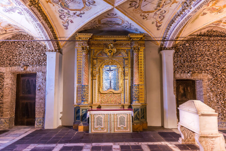 Interior of the Chapel of Bones with skulls in Evora, Portugal