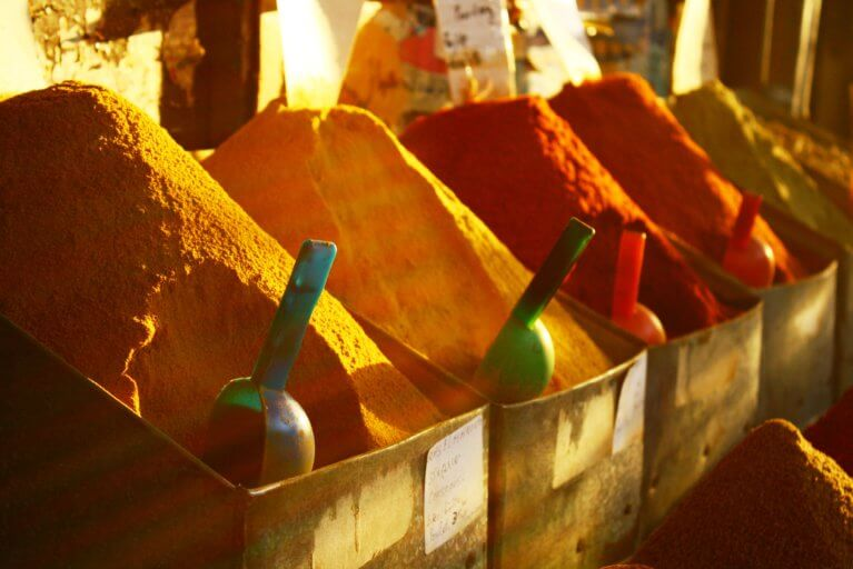 Close up of spices in a market in Morocco