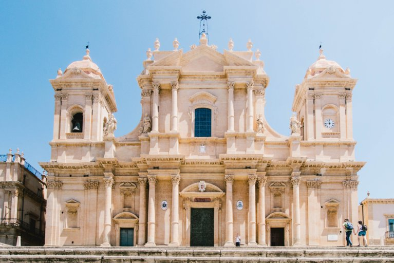 Front view of Noto cathedral during luxury Sicily tour