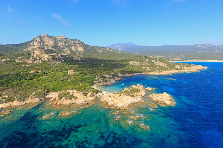 Aerial view of Domaine de Murtoli beach in Corsica