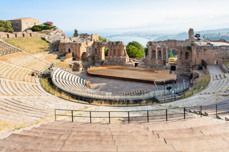 Ancient Greek theatre in Taormina and views beyond on private Sicily tour