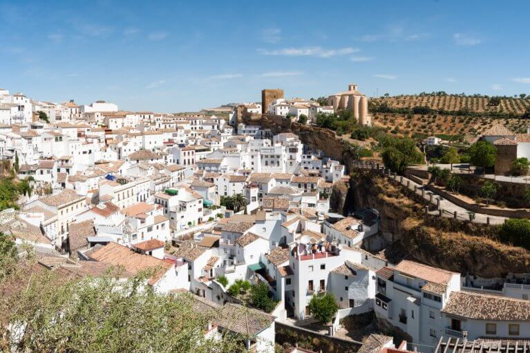 Landscape view of the 'white town' of Setenil de las Bodegas during a luxury Spain trip