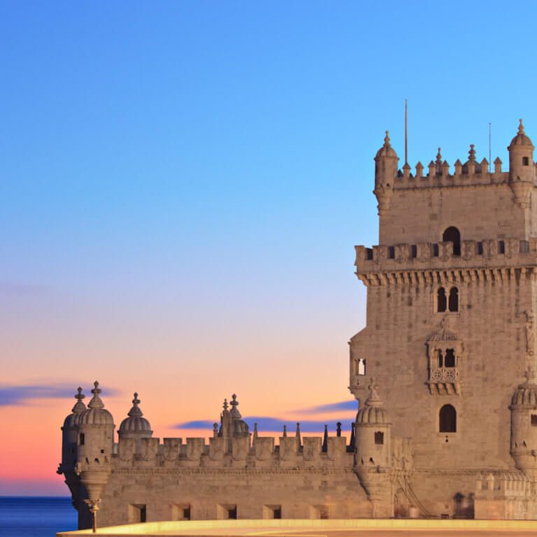Tower of Belem at sunset during luxury portugal trip