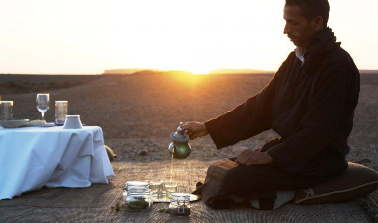 Moroccan mint tea ceremony during luxury Morocco tour