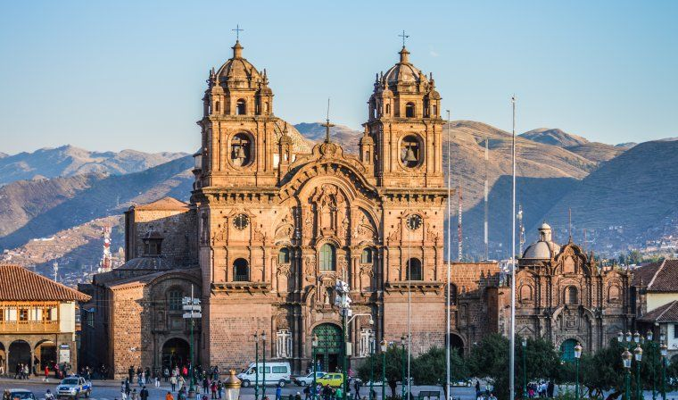 Cusco main square bathed in light during luxury Peru trip
