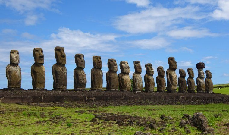 View of Moai statues in Easter Island during luxury Chile trip