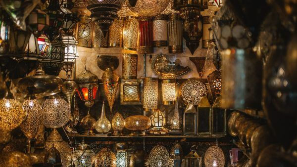 Lanterns in the markets of Marrakesh during luxury Morocco tour