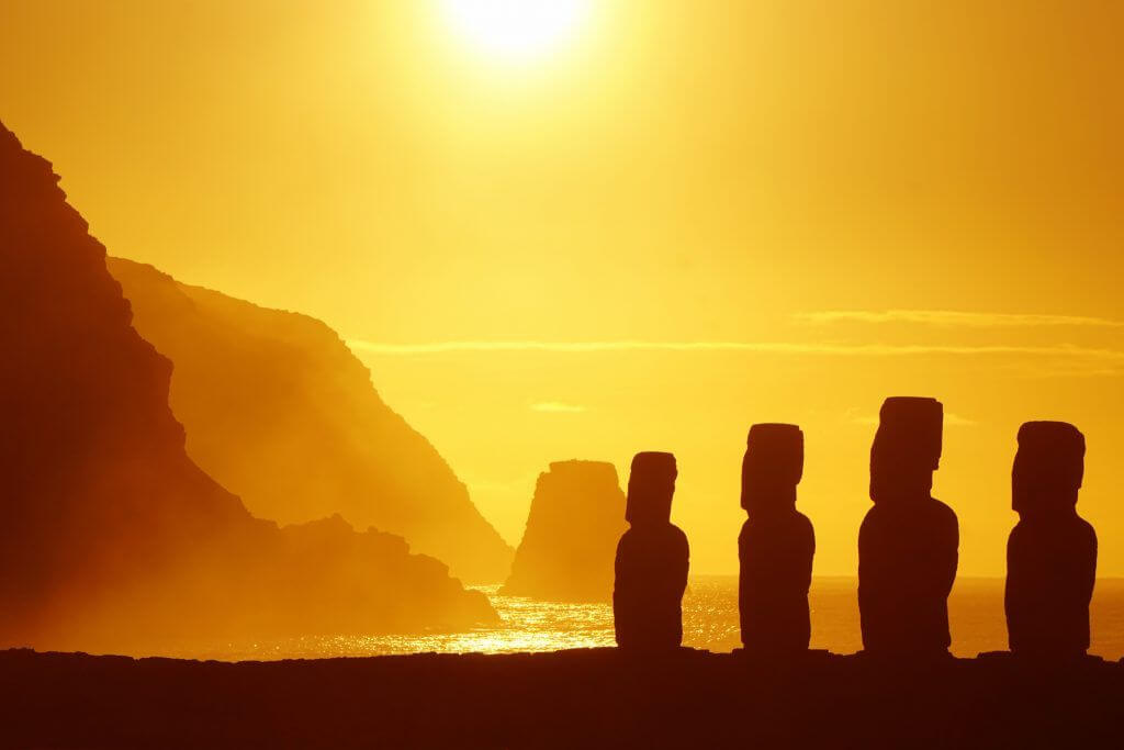 Moai statues of Easter Island on private Chile tour