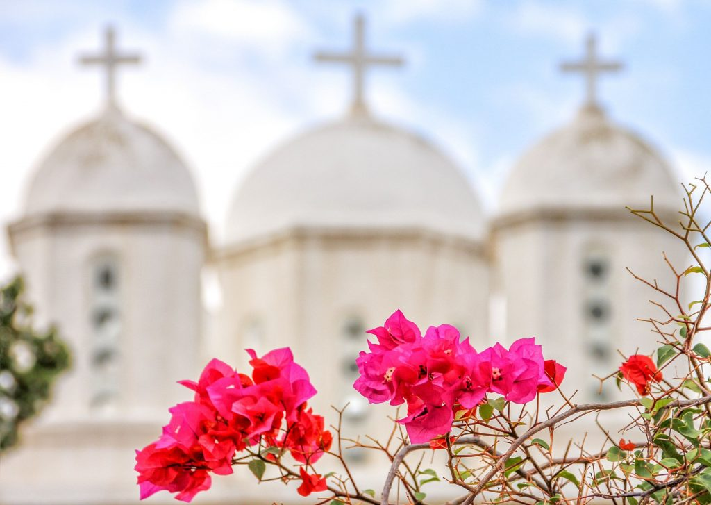 View of white Peloponnese churches and flowers during luxury Greece tour