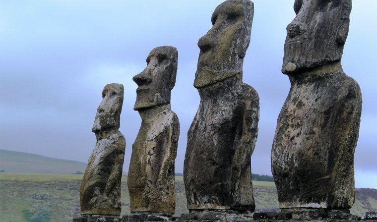 Moai statues up close during luxury Easter Island tour
