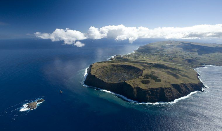 Aerial view of Easter Island during luxury Chile trip
