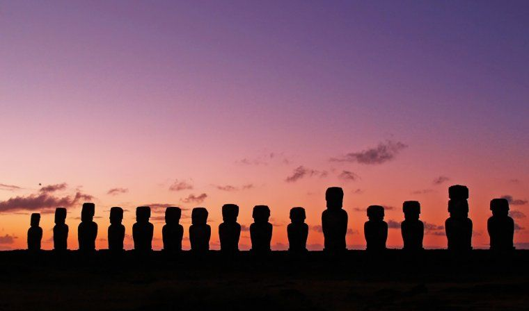Moai statues at sunset during luxury Chile tour