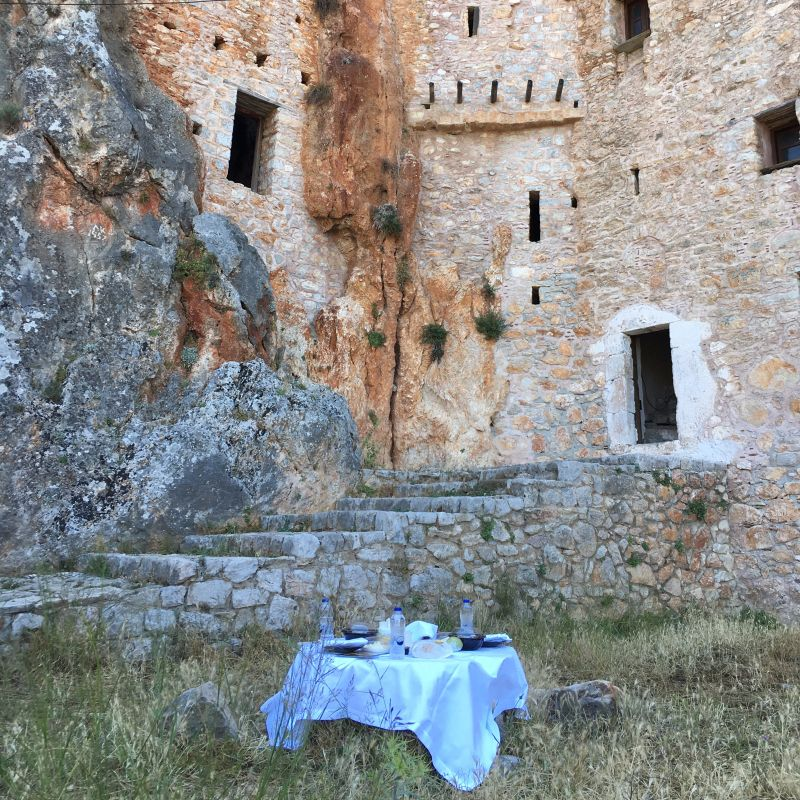 Avgos Monastery private picnic during luxury Greece trip